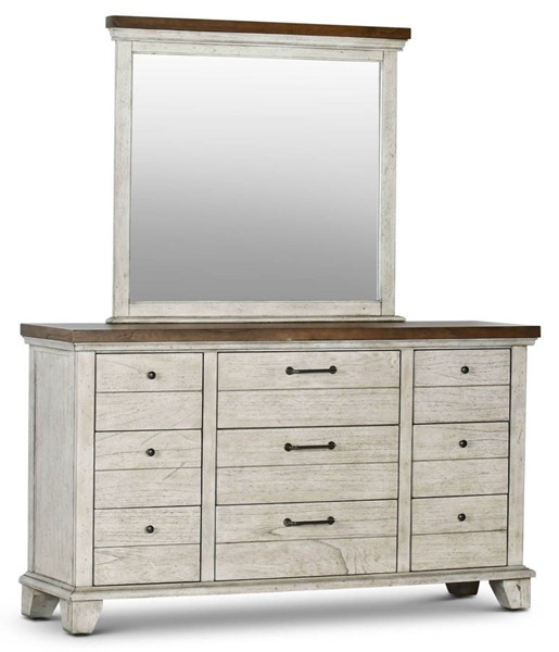 Steve Silver Bear Creek White Oak Dresser and Mirror SSF-BC900DRMR