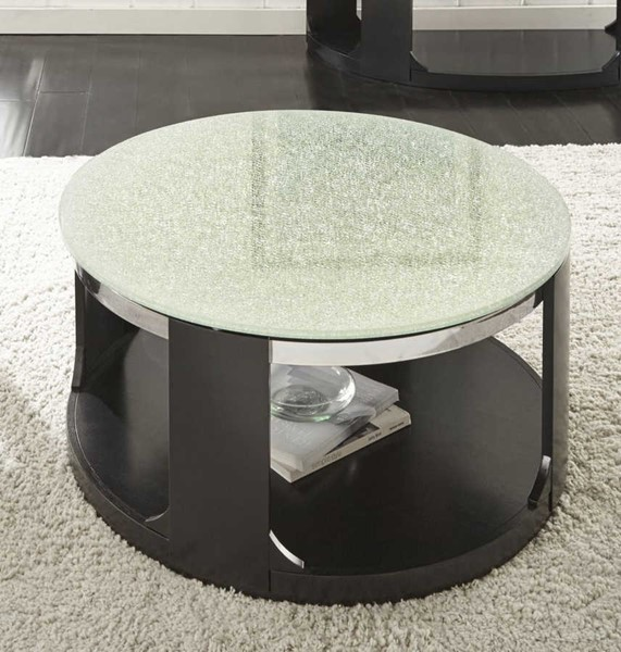 Steve Silver Croften Merlot Crack Glass Cocktail Table with Casters SSF-CF350CAS