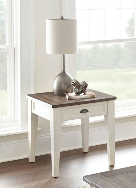 Steve Silver Cayla Dark Oak White End Table SSF-CY100EKW