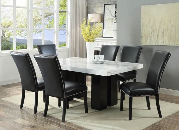 Steve Silver Camila White Black 7pc Dining Room Set | The Classy Home