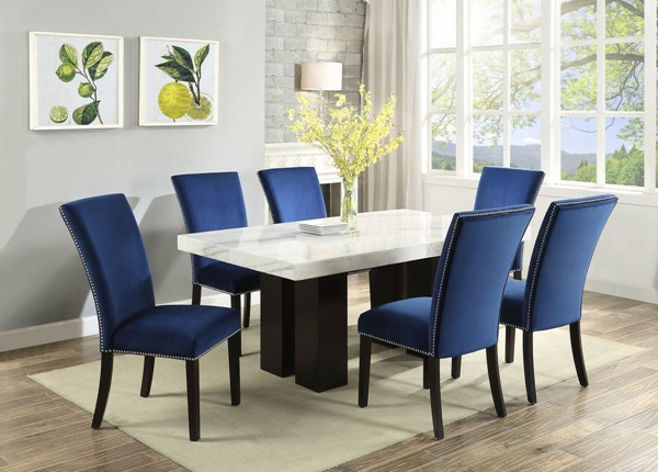 Steve Silver Camila White Blue 7pc Dining Room Set SSF-CM420WB-DR-S3