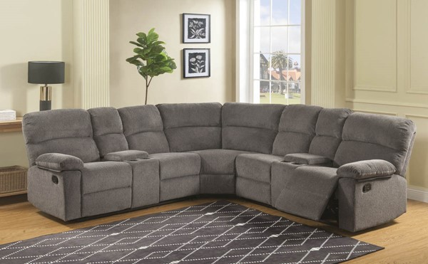 Steve Silver Conan Grey Fabric 3pc Reclining Sectional SSF-CN950G3PCSECT