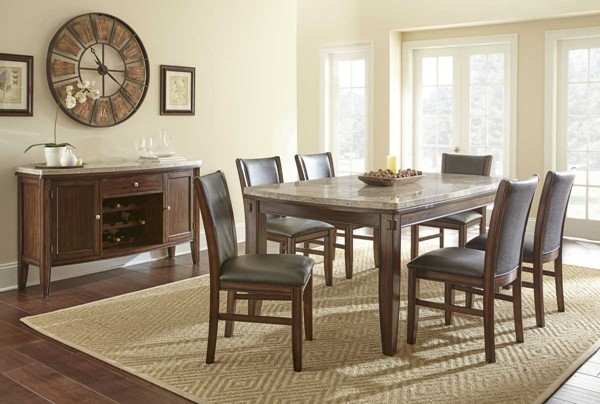Steve Silver Eileen White Pecan 7pc Dining Room Set SSF-EE500T-DR-S1