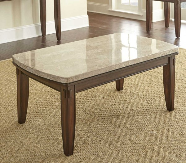 Steve Silver Eileen White Marble Top Pecan Cocktail Table SSF-EE700C