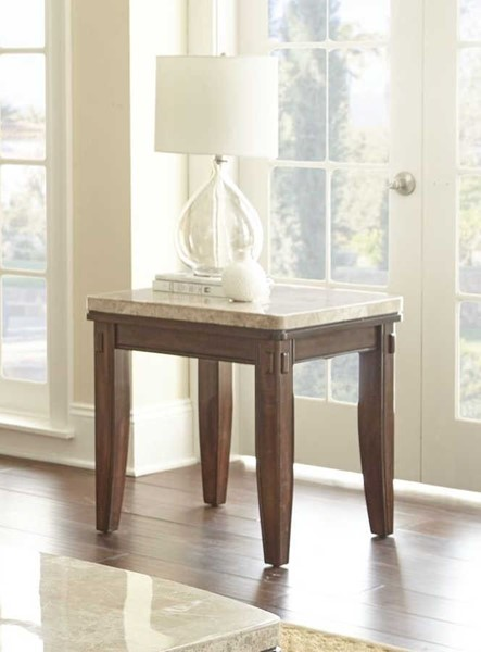 Steve Silver Eileen White Marble Top Pecan End Table SSF-EE700E