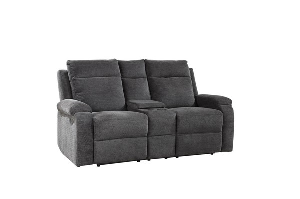 Steve Silver Empire Grey Fabric Recliner Console Loveseat SSF-EP850CLG