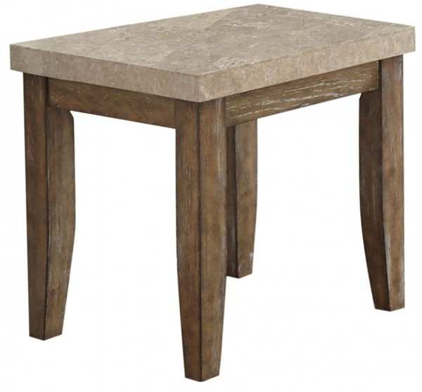 Steve Silver Franco Distressed Driftwood Marble Top End Table SSF-FR700E