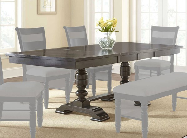 Steve Silver Hester Antique Charcoal 18 Inch Leaves Dining Table SSF-HT400-DT