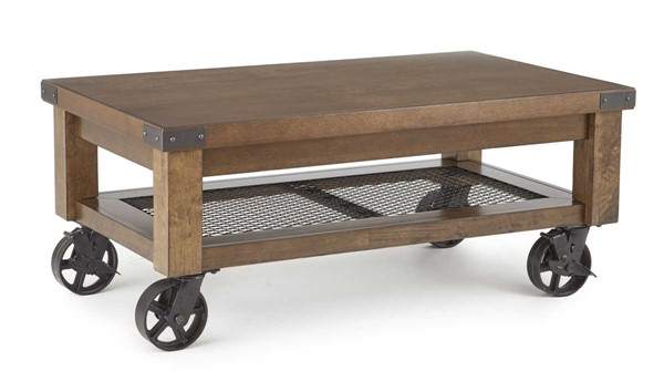 Steve Silver Hailee Antique Oak Cocktail Table with Caster SSF-HA150C