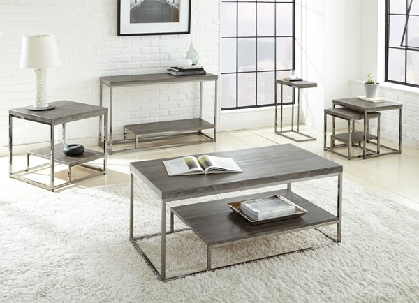 Steve Silver Lucia Gray Black End Table SSF-LU150E