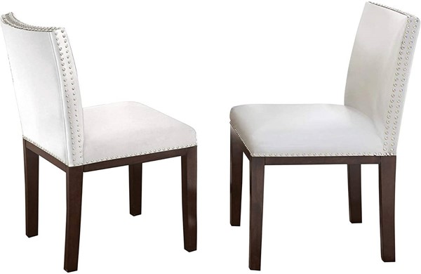 2 Steve Silver Tiffany White Nailhead Side Chairs SSF-TF550SWN
