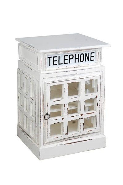 Sunset Trading Shabby Chic Cottage Whitewash English Phone Booth End Table SST-CC-CAB064SOLD-WW
