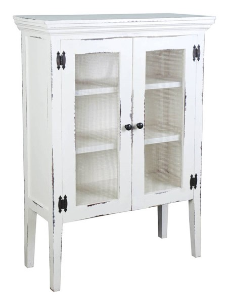 Sunset Trading Shabby Chic Cottage Whitewash 2 Door Accent Cabinet SST-CC-CAB1282LD-WW