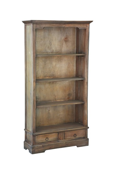 Sunset Trading Shabby Chic Cottage Brown 4 Shelves And 2 Drawers Cabinet SST-CC-CAB1918S-SV