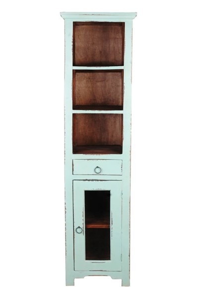 Sunset Trading Shabby Chic Cottage Teal Tall Narrow Cabinet SST-CC-CAB1924TLD-TERW