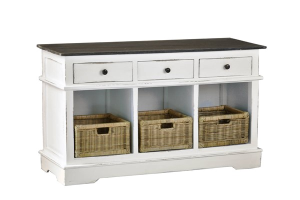 Sunset Trading Shabby Chic Cottage White Dark Brown Sideboard SST-CC-CAB234TLD-WWRW