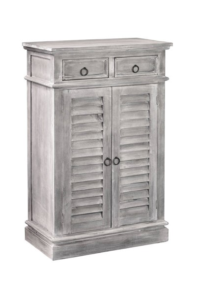 Sunset Trading Shabby Chic Cottage Light Gray Two Door Shutter Cabinet SST-CC-CAB246S-SW