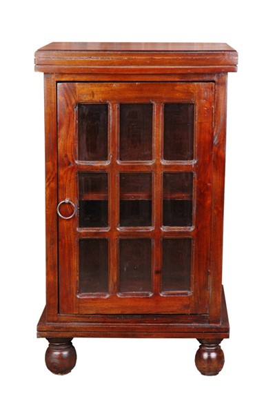 Sunset Trading Shabby Chic Cottage Walnut Glass Door End Table SST-CC-CHE050S-WN