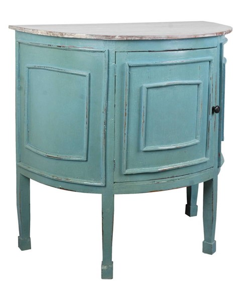 Sunset Trading Shabby Chic Cottage Blue Gray Half Round Cabinet SST-CC-CHE090TLD-BBLW