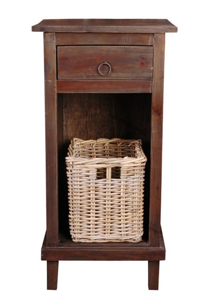 Sunset Trading Shabby Chic Cottage Raftwood End Table with Basket SST-CC-CHE530S-RW-B