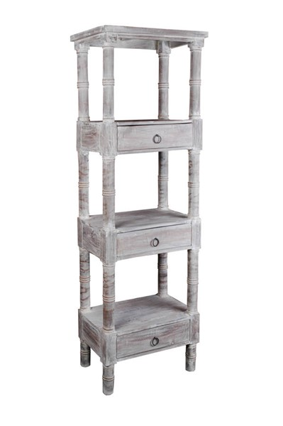 Sunset Trading Shabby Chic Cottage Distressed Gray Wood Bookcase SST-CC-RAK035S-LW