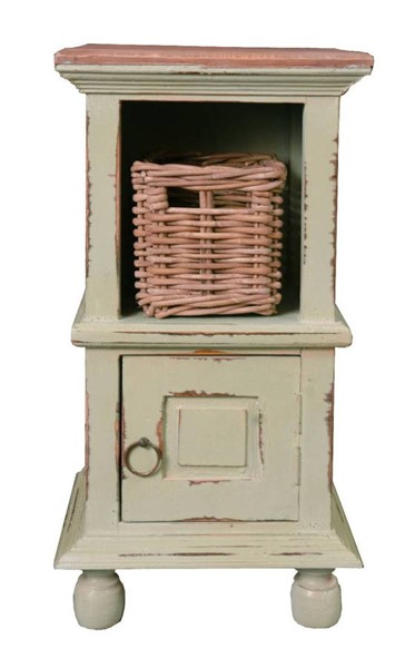 Sunset Trading Shabby Chic Cottage Pastel Green End Table with Basket SST-CC-TAB016TLD-CMRW-B