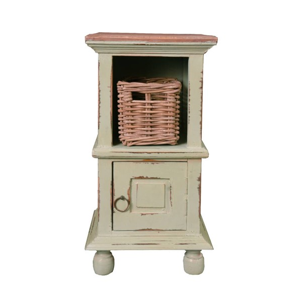 Sunset Trading Shabby Chic Cottage Pastel Green End Tables with Basket SST-CC-TAB016TLD-ET-VAR