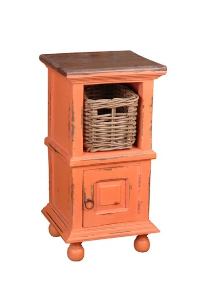 Sunset Trading Shabby Chic Cottage Coral End Table with Basket SST-CC-TAB016TLD-CRRW-B