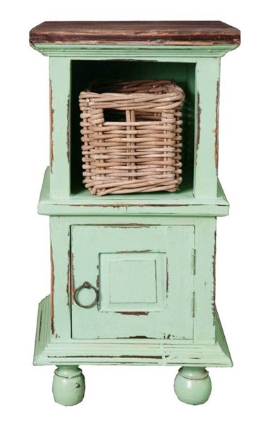 Sunset Trading Shabby Chic Cottage Teal End Table with Basket SST-CC-TAB016TLD-TERW-B
