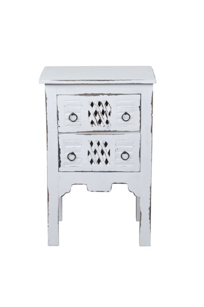 Sunset Trading Shabby Chic Cottage Whitewash End Table SST-CC-TAB098LD-WW