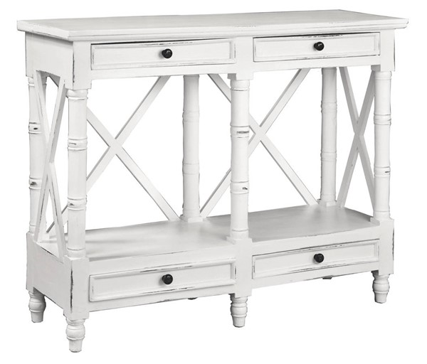 Sunset Trading Shabby Chic Cottage Distressed White X Best Console Table SST-CC-TAB1023LD-WW