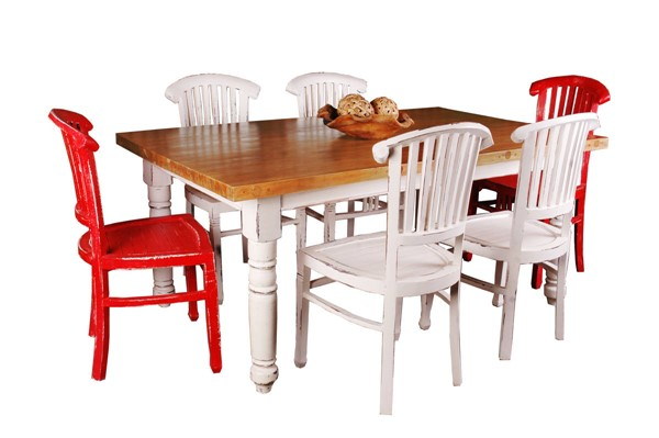 Sunset Trading Shabby Chic Cottage Whitewash Red 7pc Dining Set SST-CC-TAB1139SO4TLD-WWSV-7PC