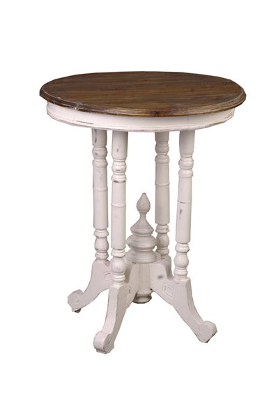 Sunset Trading Shabby Chic Cottage Antique White Brown Round End Table SST-CC-TAB131TLD-AWRW