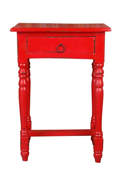 Sunset Trading Shabby Chic Cottage Red Accent Table SST-CC-TAB1646LD-RD
