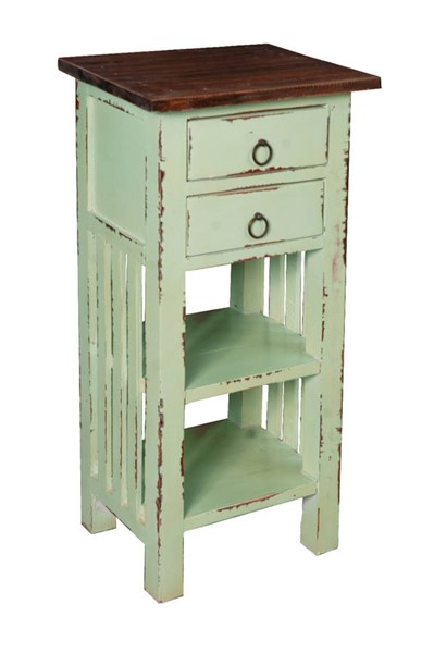 Sunset Trading Shabby Chic Cottage Bahama Blue Brown End Table with Drawers and Shelves SST-CC-TAB170TLD-BHRW