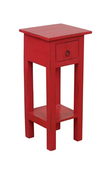 Sunset Trading Shabby Chic Cottage Antique Red Narrow Side Table SST-CC-TAB1792LD-AR