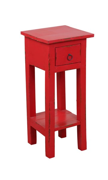 Sunset Trading Shabby Chic Cottage Distressed Red Narrow Side Table SST-CC-TAB1792LD-RD