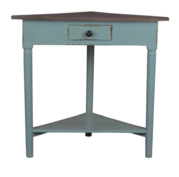 Sunset Trading Shabby Chic Cottage Beach Blue Brown Corner Table SST-CC-TAB179TLD-BBRW