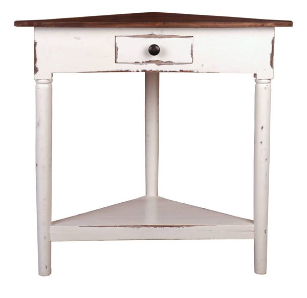 Sunset Trading Shabby Chic Cottage Whitewash Brown Corner Table SST-CC-TAB179TLD-WWRW