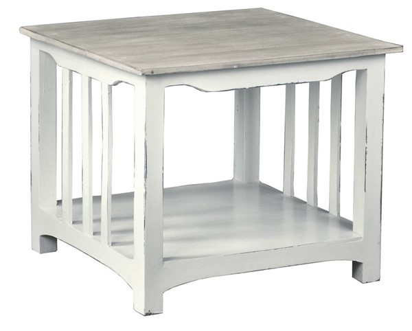Sunset Trading Shabby Chic Cottage Distressed White Light Gray End Table SST-CC-TAB184TLD-WWSW
