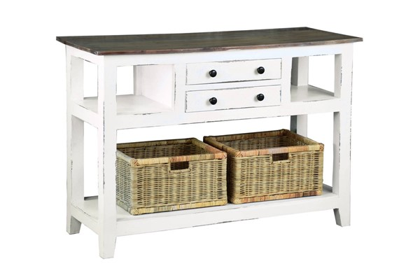 Sunset Trading Shabby Chic Cottage Distressed White Brown Sideboard with Basket SST-CC-TAB2227TLD-WWSV-B