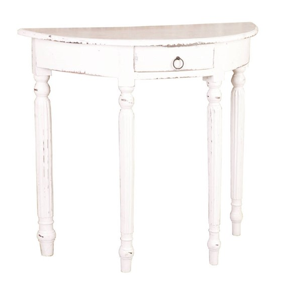 Sunset Trading Shabby Chic Cottage Distressed White Rounded Front Console Table SST-CC-TAB2272LD-WW