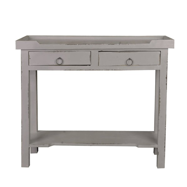Sunset Trading Shabby Chic Cottage Antique Gray 2 Drawers Console Table SST-CC-TAB2284LD-AG