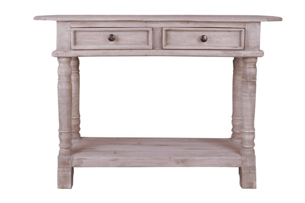 Sunset Trading Shabby Chic Cottage Natural Limewash Console Table SST-CC-TAB2287S-LW