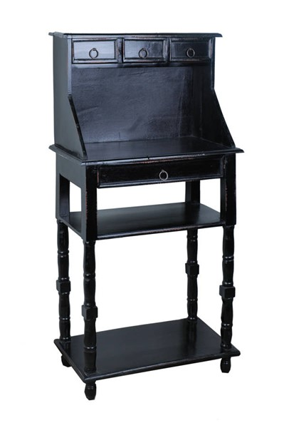 Sunset Trading Shabby Chic Cottage Antique Black Writing Table SST-CC-TAB3329LD-AB