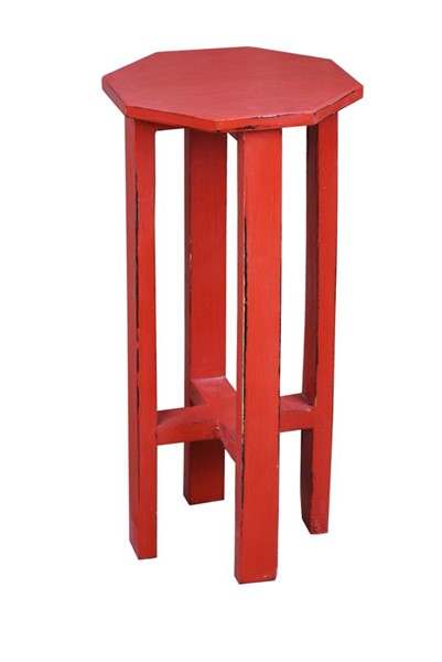 Sunset Trading Shabby Chic Cottage Distressed Red Octagon Side Table SST-CC-TAB500LD-AR