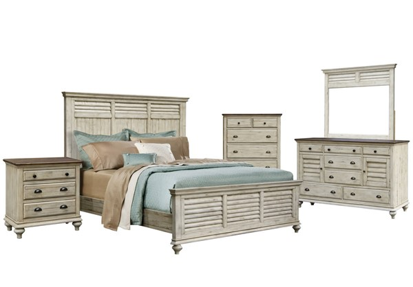 Sunset Trading Shades of White Natural Walnut 5pc King Bedroom Set SST-CF-2302-0489-K-5PC