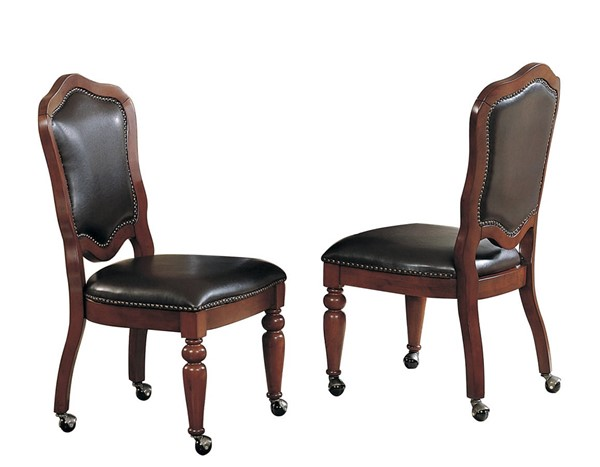 2 Sunset Trading Bellagio Distressed Brown Cherry Gaming and Dining Chairs SST-CR-87148-10-2