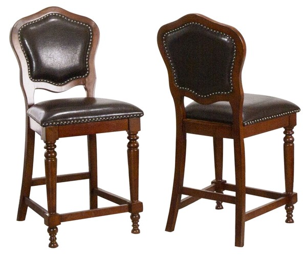 2 Sunset Trading Bellagio Distressed Brown Cherry Espresso Upholstered Bar Stools SST-CR-87148-24-2
