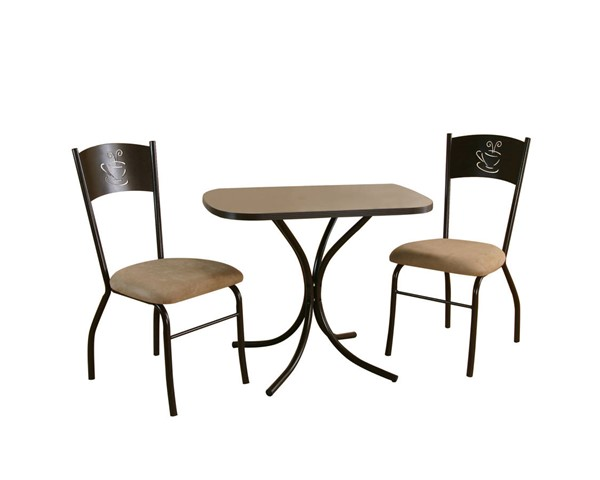 Sunset Trading Dark Cappuccino Microsuede Steel 3pc Dinette Sets SST-CR-D8272-3PC-VAR